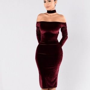 red velvet body con off the shoulder midi dress